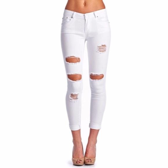 1ae75e683b9 Jeans | Boutique Distressed White Skinny | Poshmark